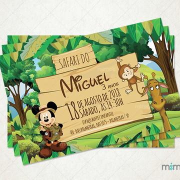 Convite Digital - Aniversário Tema Mickey Safari