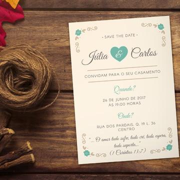 Convite Casamento Vintage 10x7cm