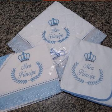 Kit enxoval de bebê 3 peças meu príncipe