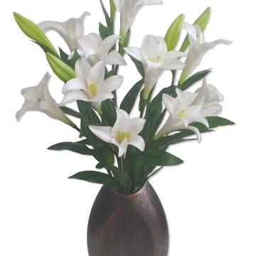 Lírio Branco Luxo Arranjo Flor Artificial Vaso Tabaco Escama
