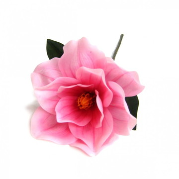 Flor artificial magnólia toque real na cor rosa