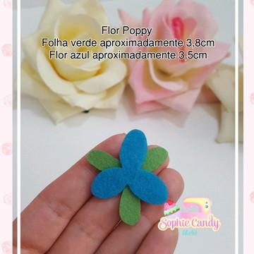 Recorte em feltro: Flor Poppy para aplique