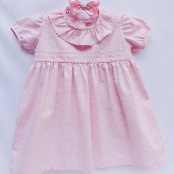 Vestido Bebe Rosa Poazinho