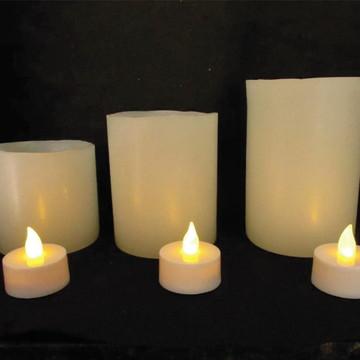 3 Velas De Led Mais 3 Luminárias Cilíndrica De Parafina