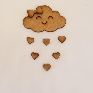 Nuvem chuva de amor em mdf cru 6cm