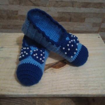 91afbfa2a6 Sapatilha Adulto Croche