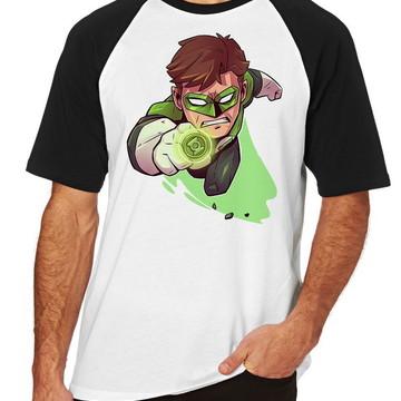 Camiseta Raglan Blusa lanterna verde Green Lantern Dc Comics