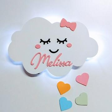 Nuvem com Olhinhos led e nome enfeite quarto Bebê