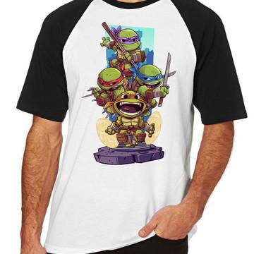 Camiseta Raglan Camisa Blusa tartaruga ninja Turtles
