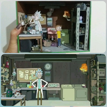 Mini cenário/ Diorama Rick and Morty