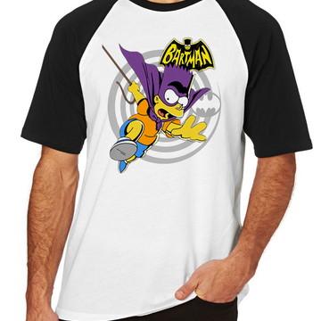 5c36b49a2 Camiseta Raglan Camisa Blusa Simpsons Batman Bart