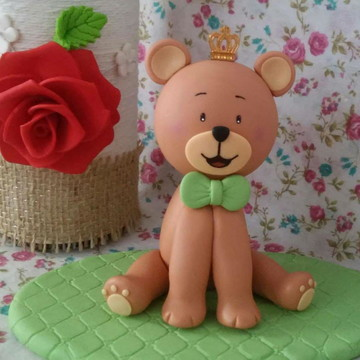 Topo urso em biscuit