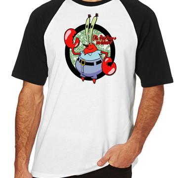Camiseta Raglan Bob Esponja Sirigueijo tomar seu dinheiro