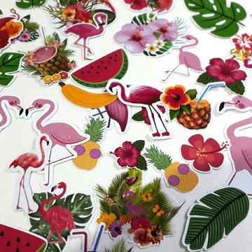 Kit recortes tema flamingo