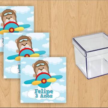 Kit Personalizado Decoração Festa 45 Itens-Tema Urso Aviador