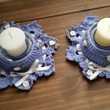 Conjunto de Porta Velas em Crochê - Serenity Azul