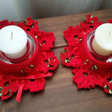 Conjunto de Porta Velas em Crochê - Vermelho
