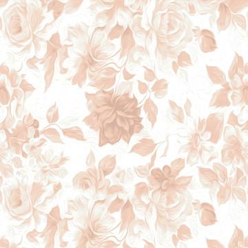 Papel de Parede Flores Estilizadas em Rosa Antigo e Branco