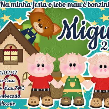 convite digital 3 porquinhos