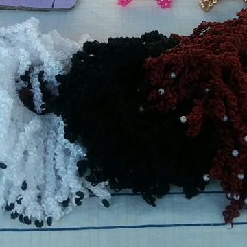 Xuxinhas para cabelo de crochê com pérolas e missangas