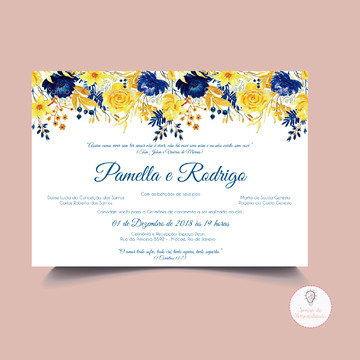 Convite de casamento azul e amarelo - Arte digital