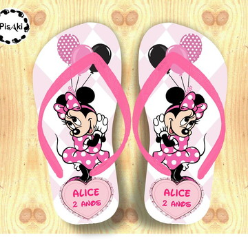 CHINELO PERSONALIZADO MINNIE CUTE- Kit festa Infantil