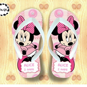 CHINELO PERSONALIZADO MINNIE CUTE - Kit festa Infantil