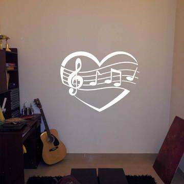 Adesivo coração musica 55cm