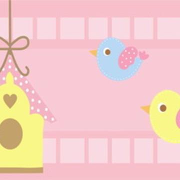 Faixa Adesiva Jardim Pássaros Fundo Rosa