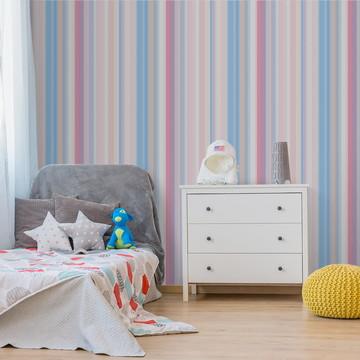 Papel de parede Listras Rosa e Azul