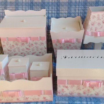 Kit higiene bebe mdf decorado 8 peças completo