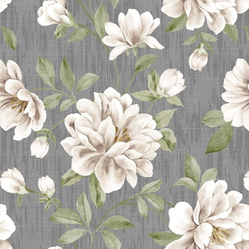 Papel de Parede Flores Brancas Sobre Estilo Tecido