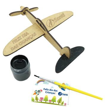Kit Avião mdf com Tinta e Pincel - Dia das Crianças