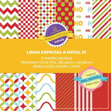 Kit com 12 Papéis Digitais - Linha Especial NATAL