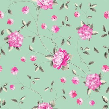 Papel de Parede Floral com Fundo Verde Água