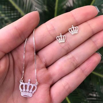 Colar coroa de prata 925