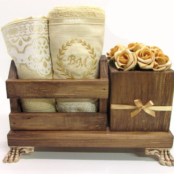 Mini organizador para lavabo madeira personalizado II - dour