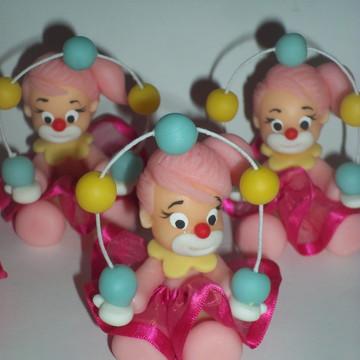 Apliques em biscuit circo rosa