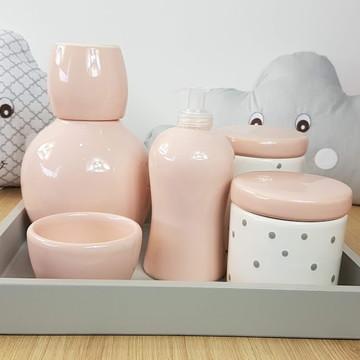 Kit Higiene Bebe Porcelana Poa Cinza e Rosa