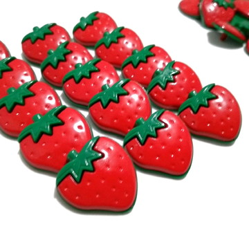 10 botões infantis Morango para laços pet