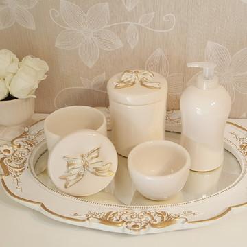 Kit Higiene Porcelana Bandeja Resina