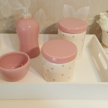 Kit Higiene Porcelana Rosa Poá
