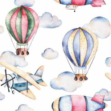 Papel de Parede Balão Aviões