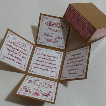 Convite Casamento Caixa Explosão -arquivo de corte