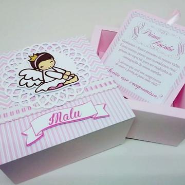 Caixa Convite anjinho para nutella -arquivo de corte