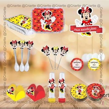 Kit Festa Infantil Minnie Vermelha e Amarelo - 181 peças