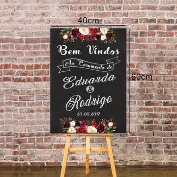 """Placa Chalkboard Casamento """"Bem Vindos"""" 60x40 Marsala02"""