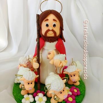 Jesus Bom Pastor e suas ovelhinhas 16 cm altura