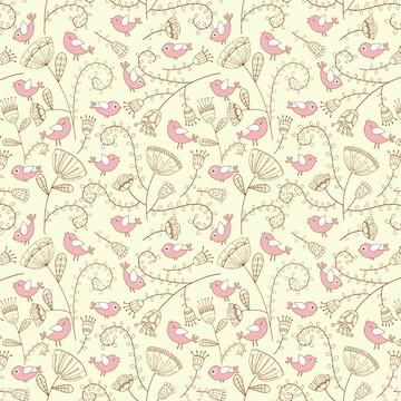 Papel de Parede Pássaros Aquarela Rosa