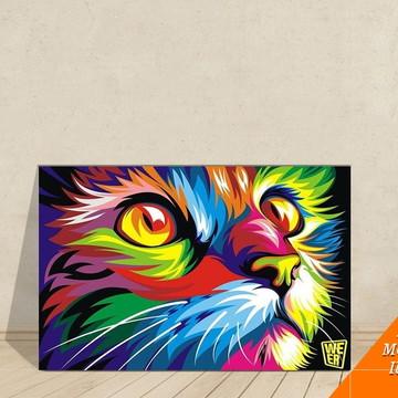 Quadro Canvas Decorativo Cozinha Gatinho Colorido